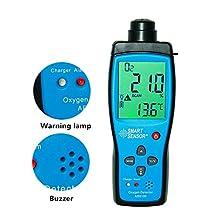 Smart Sensor AR8100 Handheld Oxygen Detector O2 Tester LCD Display Sound-light Alarm Range of 0-25%