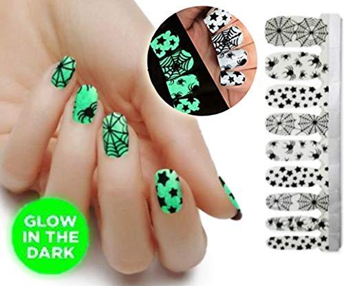 JELLO NELLO Halloween Party Nail Decals Stickers Self Adhesive DIY Nail Art Tips Nail Wraps Glow In Dark 20 Wraps Per Pack