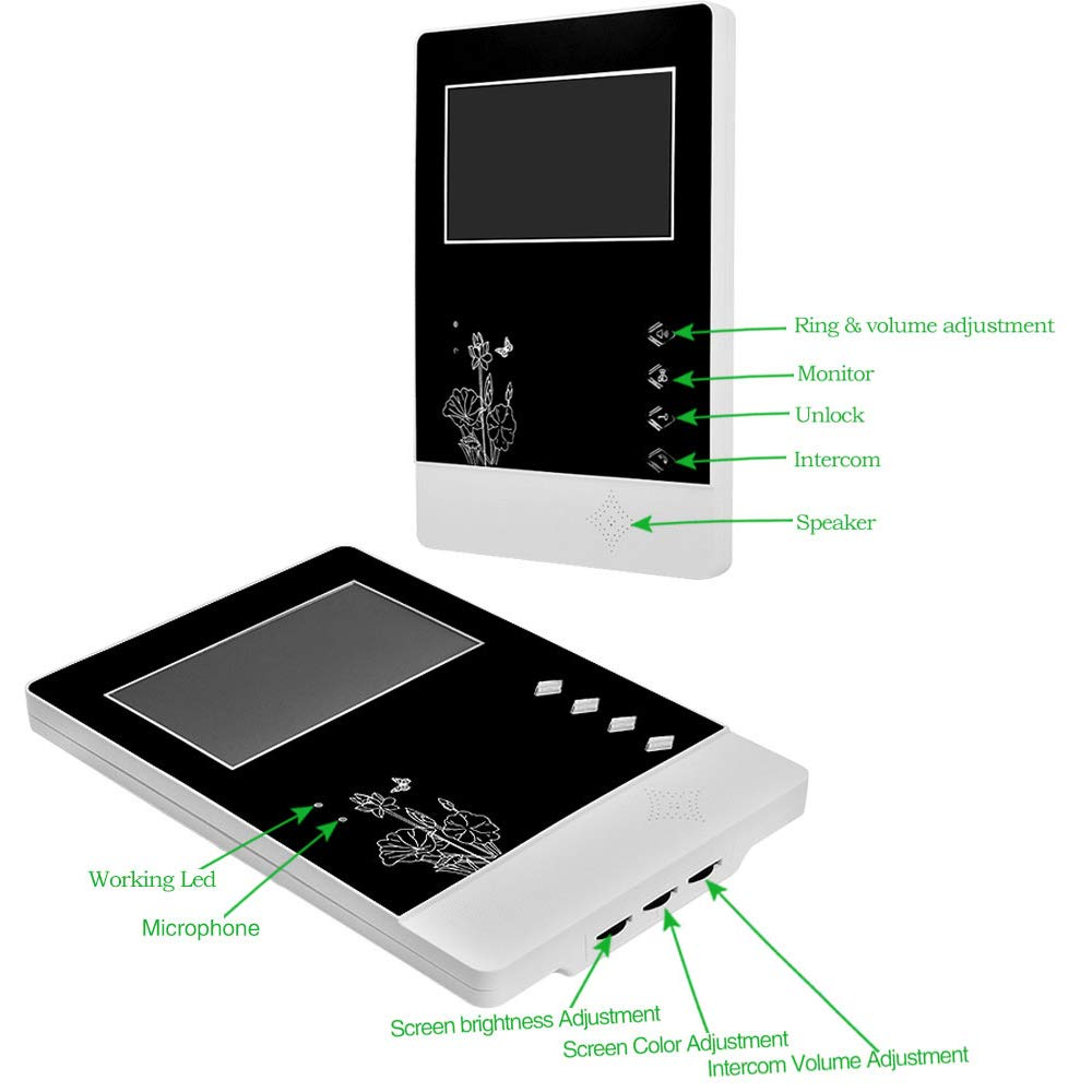 uoweky Schermo a Colori TFT da 4.3 Pollici Videocitofono con Cavo Videocitofono per Telefono Citofonico per Home//Apartment Speakerphone 3 Monitor