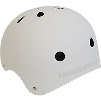 """Industrial Flat White Skateboard Helmet - Large / 22.1"""" - 22.9"""" : Skate And Skateboarding Helmets : Sports & Outdoors"""