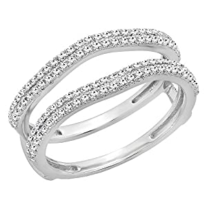 0.48 Carat (ctw) 14K White Gold Round Diamond Ladies Wedding Enhancer Double Ring 1/2 CT (Size 9)