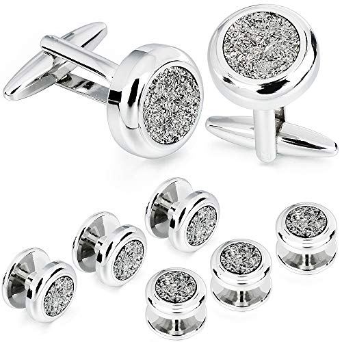 AMITER Shinny Cufflinks Tuxedo Studs Set for Dress Shirt - Best Gifts for Wedding Formal Event (401744)