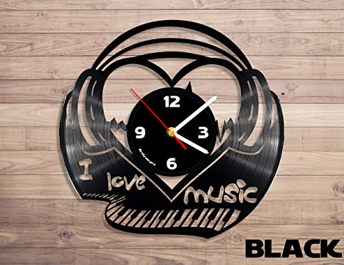 Music Headphones vinyl record wall clock