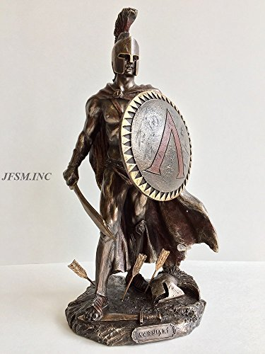 Veronese Design Spartan King Leonidas with Sword and Shield Bronzed Statue]()