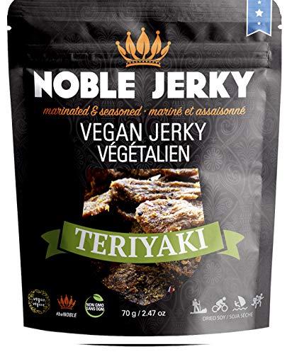 (NOBLE Jerky Vegan - Teriyaki - Vegan & Vegetarian snacks, 14g of Protein, Plant Based Protein, Non GMO, 2.47 oz)