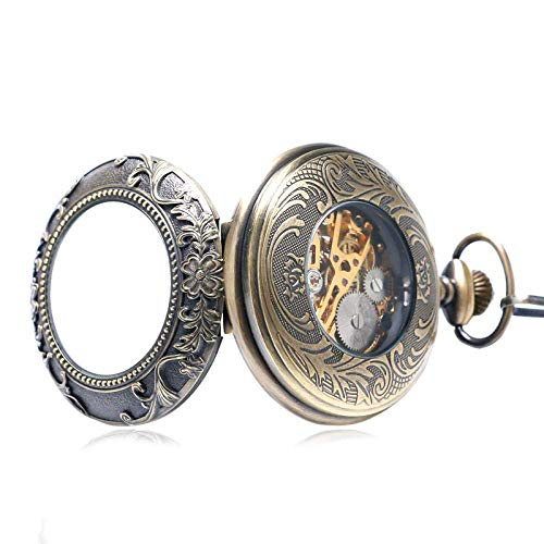 YGB Vintage fickur klassisk antik brons transparent svart romerska nummer skelett mekanisk hand vind bricka fickur män kvinnor