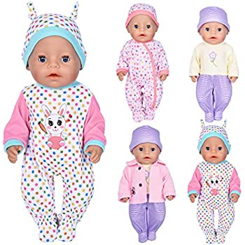 c1674dba2 7 Pcs Doll Clothes with Hat and Coat for 43cm New Born Baby Dolls/ 15 inch Bitty  Baby Doll