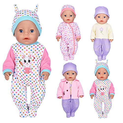 7 Pcs Doll Clothes with Hat and Coat for 43cm New Born Baby Dolls/ 15 inch Bitty Baby Doll
