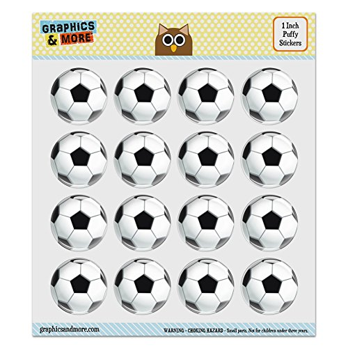 Puffy Bubble Dome Scrapbooking Crafting Stickers - Soccer Ball Football - Set of 16-1.0