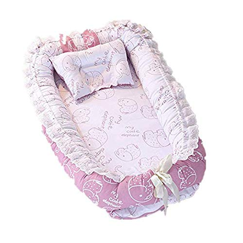 Satbuy Ruffled Baby Bassinet for Bed -Elephant Purple Baby Lounger – Breathable Hypoallergenic Co-Sleeping Baby Bed – 100 Cotton Portable Crib for Bedroom Travel