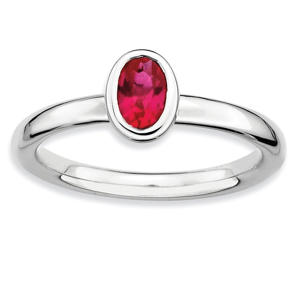Top 10 Jewelry Gift Sterling Silver Stackable Expressions Oval Created Ruby Ring