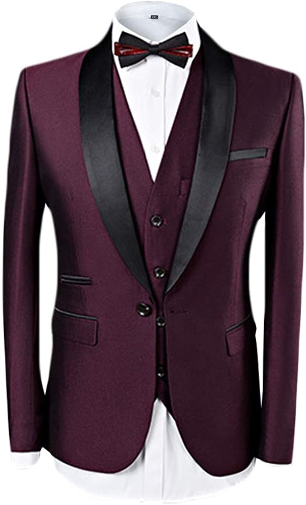 MAGE MALE Mens 3 Piece Suit Skinny Fit Suit Jacket Stylish Casual Single Breasted Tuxedo Jackets /& Vest /& Trousers
