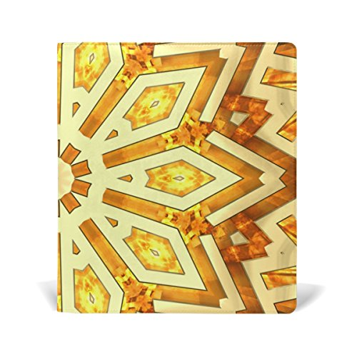 Nice AURELIOR Shiny Golden Kaleidoscope Star Pattern Stretchable PU Leather Book Cover 9 x 11 Inches Fits for School Hardcover Textbooks