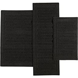 Mainstays Dylan Nylon Accent Rugs, Set of 3, Black