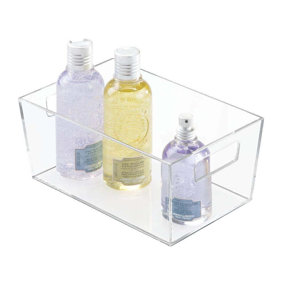 22.9 Cm X 15.2 Cm X 10.4 Cm peque/ña Caja de almacenaje con Asas de pl/ástico para organizar cosm/éticos y Maquillaje en el Lavabo InterDesign iDesign Clarity Cesto Organizador Transparente