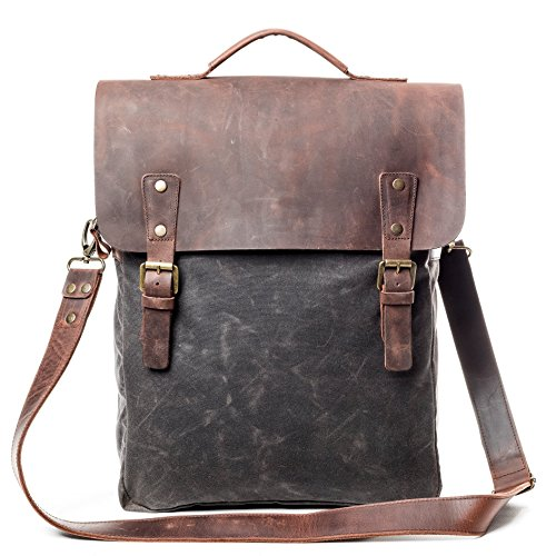 Vintage Handmade Slim Flap Backpack - Made From Waxed Canvas & Leather - High Quality Retro Laptop Rucksack With Waterproof Lining For Men And Women by Tram 21