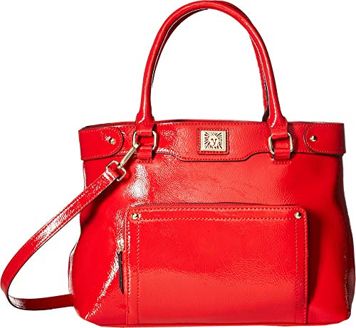 Anne Klein Women's Crinkle Front Pocket Satchel Red Clay One Size -  AKM2263-600