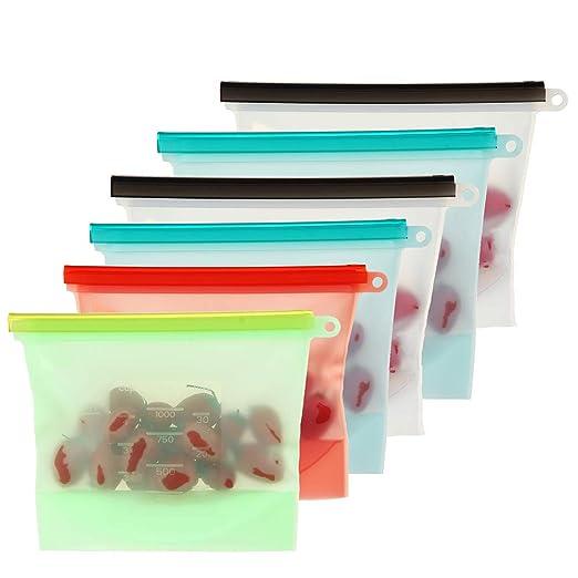 AOLVO - Bolsa de Silicona Reutilizable, 6 Paquetes de Bolsas herméticas para Ahorro de Alimentos para Carne Vegetal, congelación de Vapor, microondas, ...