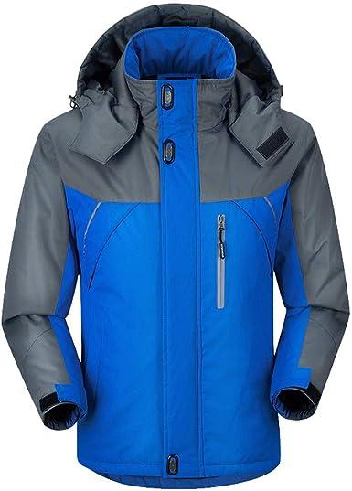 Anorak Veste Coupe Vent à Capuche Homme,Épaissir Plus Peluche Imperméable Blouson Chaud Outdoor Mode Hiver Manteau Rétro Jacket