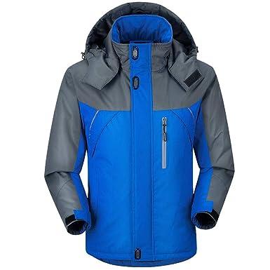 Chaqueta Impermeable con Capucha para Hombre Tamaño grande, A Prueba de Viento Chaqueta de Esquí