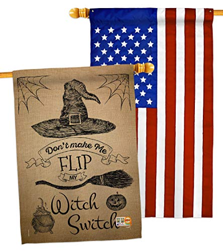 Ornament Collection HP191031-BOAB Flip My Witch Switch Fall Halloween Impressions Decorative Vertical 28