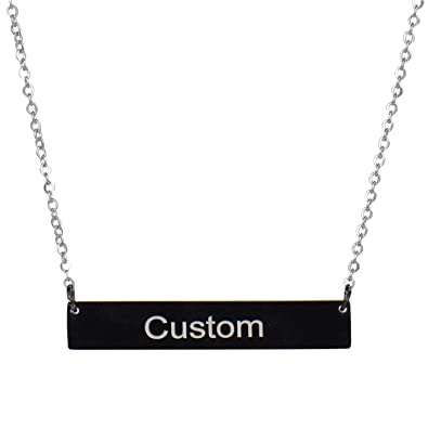 3728cef78b2 HUAN XUN Custom Bar Necklace Name Monogram Initial Name on Choker Personal  Jewelry Birthday Valentine Gift