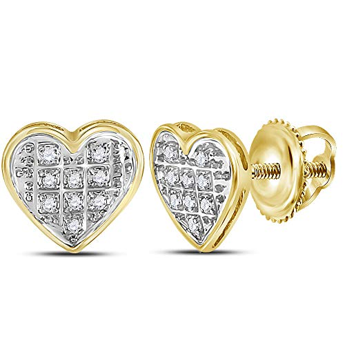 The Diamond Deal 10kt Yellow Gold Womens Round Diamond Heart Cluster Stud Earrings 1/20 Cttw