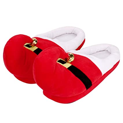 wensltd cozy memory foam plush christmas slipper non slip household slippers for kids adults