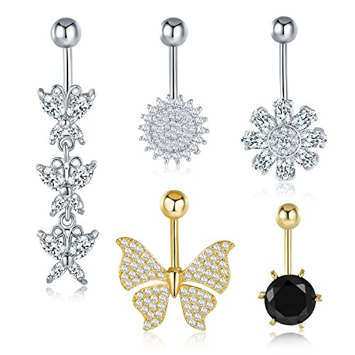 Belly Ring Crystal Butterfly - Mevecco Womens Surgical Steel Belly Button Rings Set CZ Crystal Butterfly Navel Bars Body Piercing-Butterfly