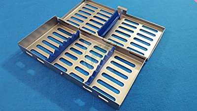 "French Steel Autoclave Dental Surgical Lab Sterilization Cassette 7"" X 3.5"" X 0.75"" Tray Rack for 7 Instruments (Hti Brand)"