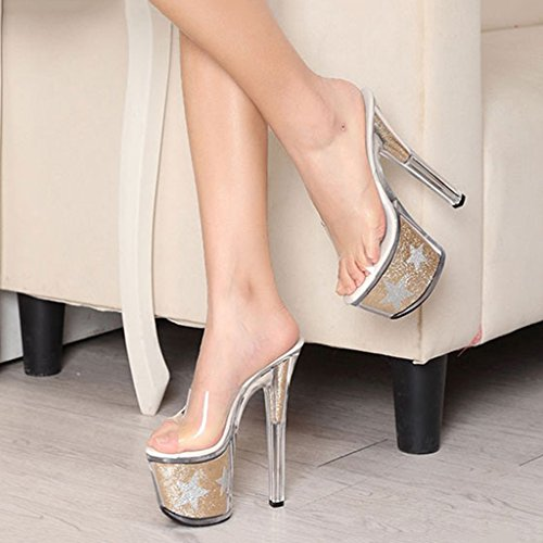 Single Couleur été cool 17cm Or super long240mm cristal transparent en chaussures Sexy talons Chaussures pantoufles femmes Or Shoes taille pour 38 shoes female azqvrwpaS