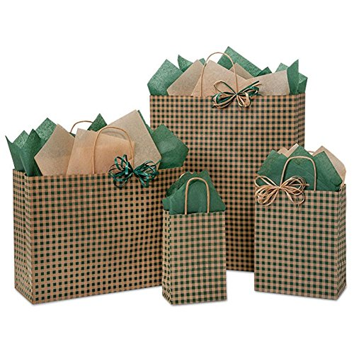 Hunter Gingham Paper Shopping Bags - Assortment of 4 sizes - 125 Pack by NW