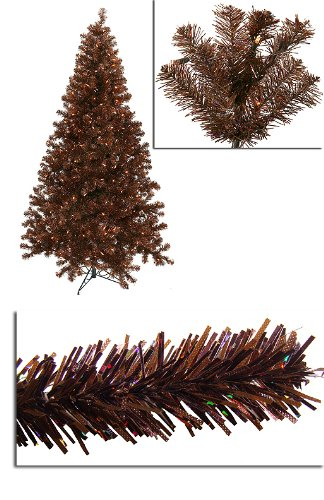 7' Pre-Lit Sparkling Chocolate Brown Artificial Christmas Tree ...