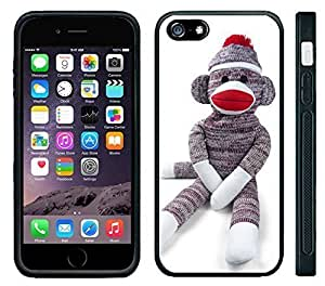 Apple iPhone 6 Black Rubber Silicone Case - Sock Monkey Doll Stuffed Doll Print