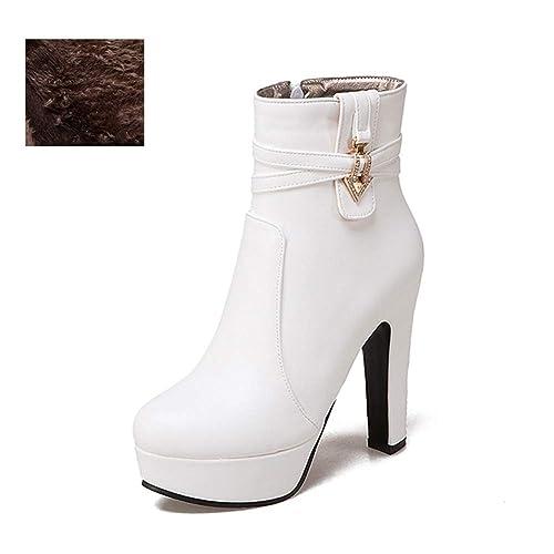 Las Mujeres Plataforma Corto de Felpa Botas Invierno Tacones Altos Zapatos Calientes Ronda Toe Calzado Cristal Tacones tacón Cuadrado Botines: Amazon.es: ...