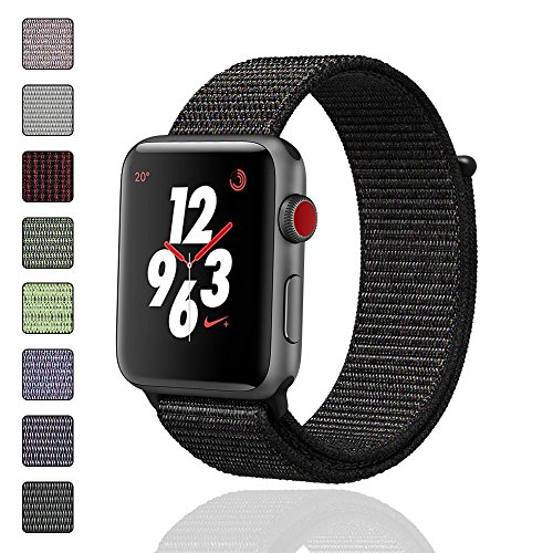 iMoway Sport Loop Band Compatible for Apple Watch 38mm 42mm, Nylon Replacement Wristbands Compatible for iWatch Series 1/2/3, Nike+,Sport,Edition (Black, 38mm)