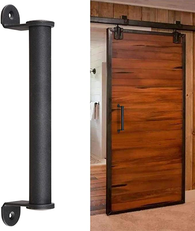 Puerta corrediza de granero Manija cilíndrica para puerta corrediza de granero Kit de herrajes Puerta de granero Puerta de jardín, negro: Amazon.es: Bricolaje y herramientas