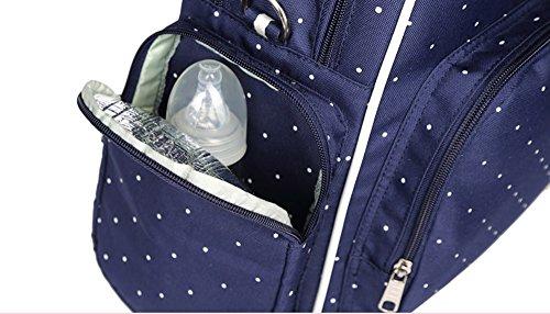 Multi-funcional bolso de la momia, paquete de la madre de los hombros de la capacidad grande, para ser paquete de la madre-en-ley, mujeres embarazadas van mochila ( Color : Luz Violeta ) Blue wave point