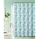 Dainty Home Nouveau Leaf Fabric Shower Curtain, Aqua