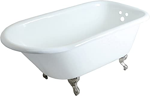 KINGSTON BRASS VCT3D603019NT8 60-Inch Cast Iron Roll Top Claw Foot Tub with 3-3 8-Inch Tub Wall Drillings and Brushed Nickel Feet, White