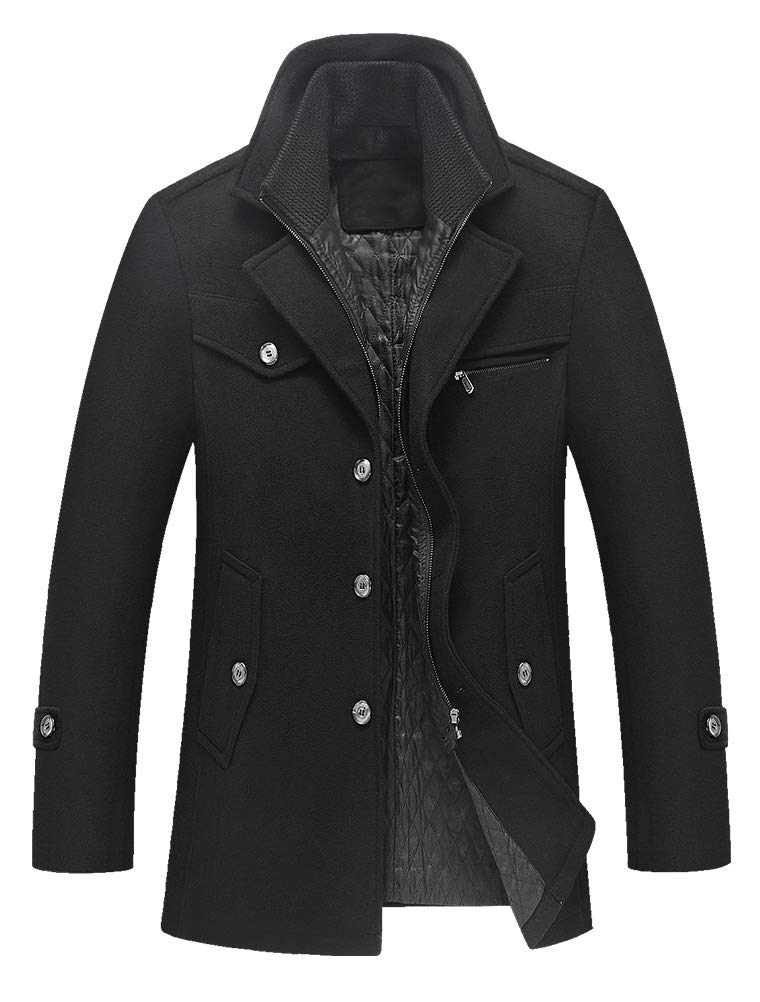 Lavnis Men's Winter Wool Coats Slim Fit Single Breasted Trench Jacket Woolen Pea Coat Black XL by Lavnis