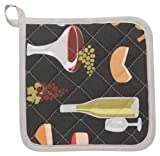 Now Designs Kitchen Style Potholders, Wine and Cheese