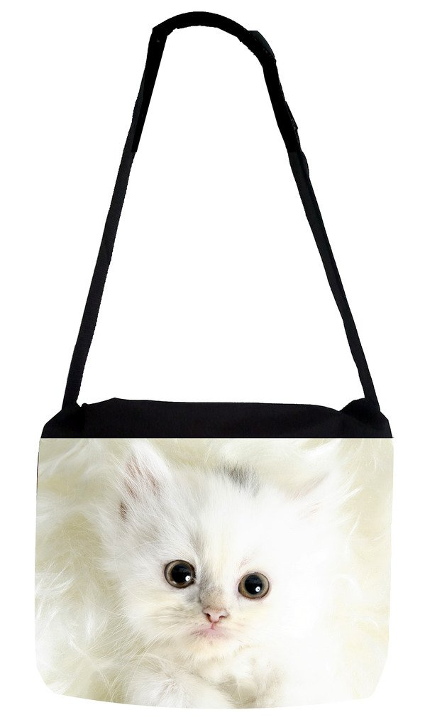 TM Medium Sized Messenger Bag 11.75 x 15.5 and 5 x 8 Pencil Case SET Furry White Kitten Rosie Parker Inc