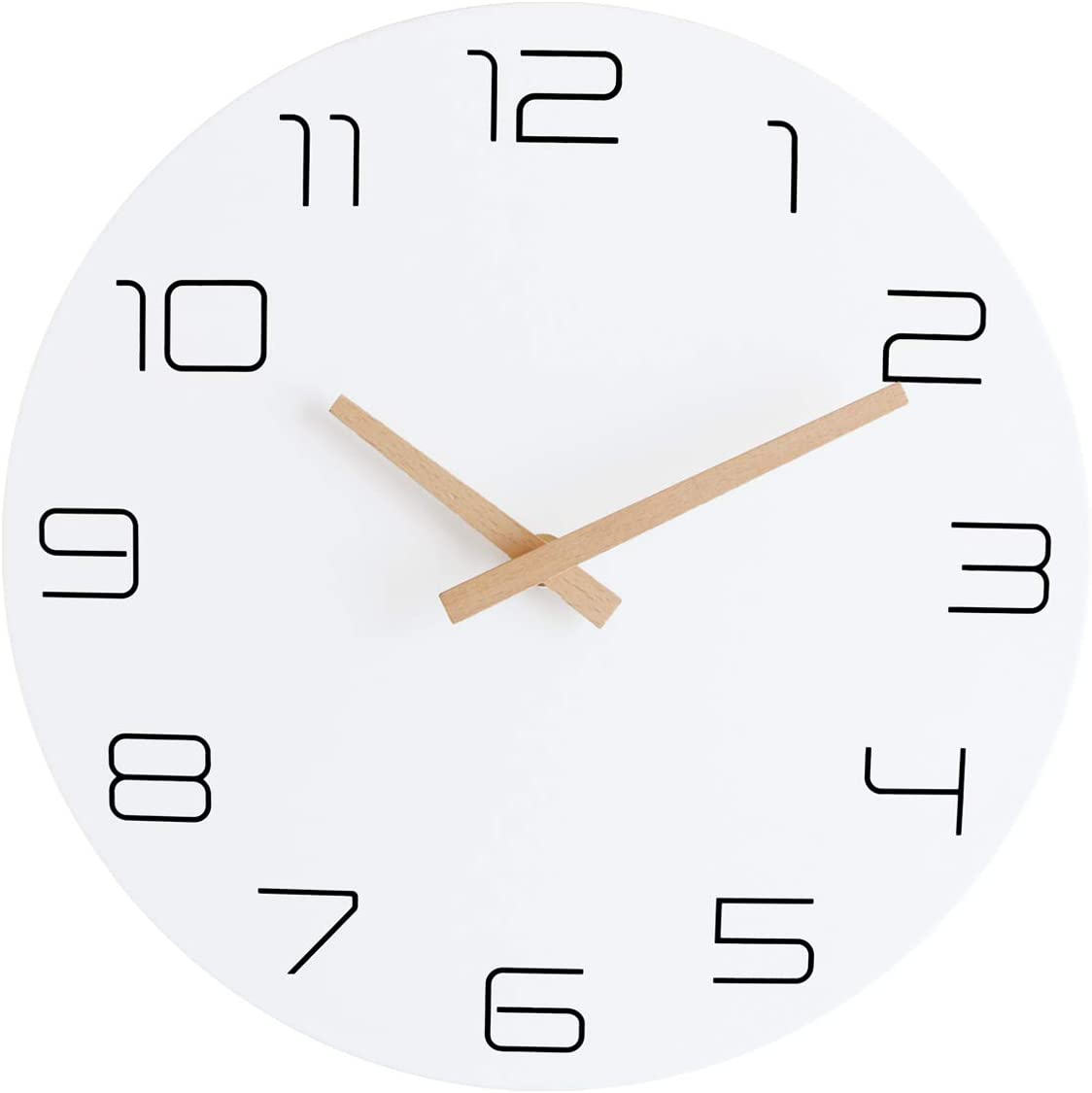 Lumuasky 12 Inch Modern Wall Clock, Silent Non-Ticking Battery Operated Quartz Decorative Simple Wall Decor for Living Room, Kitchen, Bedroom, Home, Office, School