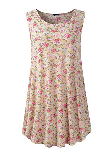 (Veranee Women's Sleeveless Swing Tunic Summer Floral Flare Tank Top (3XL,)