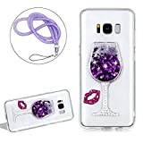 Liquid Case Cover For Samsung Galaxy S8 Clear Crystal, Girlyard Soft Silicone Wine Glass Pattern Hourglass Case Cover Stars Flowing Glitter Bling Diamond Case Cover with Rose Red Sexy Lips and Purple Lanyard Strap