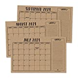Rustic 2019-2020 Large Monthly Desk or Wall Calendar Planner, Big Giant Planning Blotter Pad, 18 Month Academic Desktop, Hanging 2-Year Date Notepad Teacher, Mom Family Home Business Office 11x17'