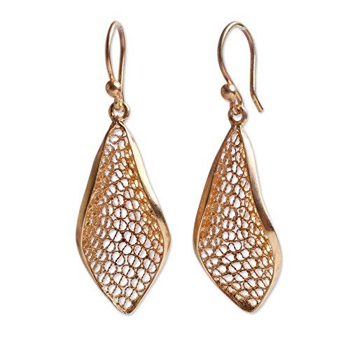 (NOVICA 21k Yellow Gold Plated .925 Sterling Silver Filigree Dangle Earrings, Emerging' )
