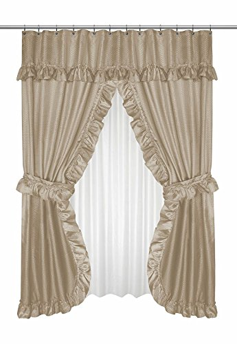 Diamond Dot Ruffled Double Swag Fabric Shower Curtain With Valance and Liner - Linen (Tie Swags Backs Curtain)