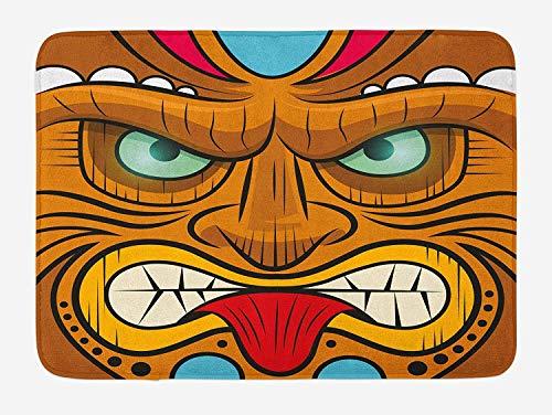 Tiki Bar Bath Mat, Cartoon Style Angry Looking Tiki Warrior Mask Colorful Icon Totem Culture Print, Plush Bathroom Decor Mat with Non Slip Backing,16